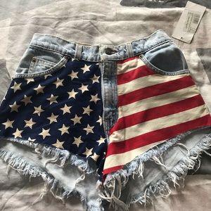 "703ebd523e RunwayDreamz ""American flag"" denim shorts"